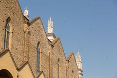 The side view of the Basilica di Santa Croce. Basilica of the Holy Cross,the principal Franciscan church in Florence, Italy stock photography
