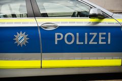 Side view of bavarian police car Royalty Free Stock Photography