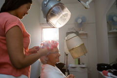 Side view of beautician adjusting curlers on senior woman hair Royalty Free Stock Image