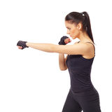 Side view of beautiful brunette warming up Royalty Free Stock Photo