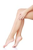 Side view of beautiful slim female legs royalty free stock images