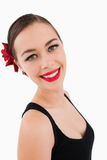 Side view of beautiful smiling woman Stock Photo
