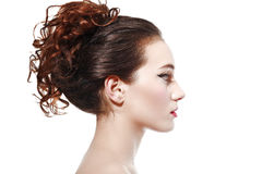 Side view of beautiful woman Stock Image