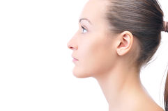 Side view of a beautiful young woman Stock Image
