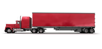 Side view of a big red trailer truck Stock Photography
