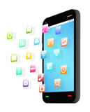 Side view of black smartphone with floating application icon royalty free illustration