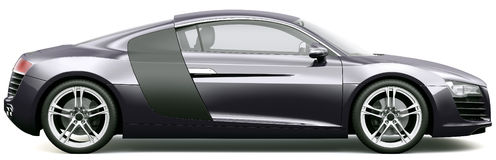 Side view of black sports car. On a white background Royalty Free Stock Images