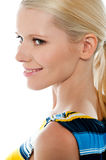 Side view of blond pretty woman, closeup shot. Isolated over white background Stock Photography
