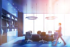 Side view of blue meeting room, man royalty free illustration