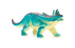 Side view blue  Pentaceratops toy on white Stock Photos