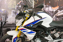 Side view of BMW racing motorcycle. Belgrade,Serbia - March 20,2016. Side view of BMW racing motorcycle on annual public Belgrade car show 2016. Focus on the royalty free stock images
