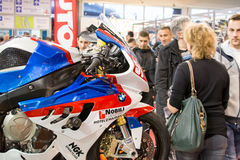 Side view of BMW racing motorcycle Royalty Free Stock Images