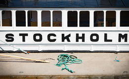 Side view of boat in Stockholm, Sweden. Royalty Free Stock Photography