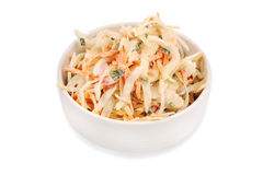 Side view of  bowl filled with coleslaw isolated on  white background. Stock Photography