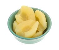 Side view of a bowl of pears halves. Side view of a bowl full of canned pear halves isolated on a white background royalty free stock photos
