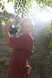 Side View Of Boy With Binoculars Stock Image