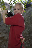 Side View Of Boy With Binoculars Royalty Free Stock Photography
