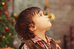 Side view of boy looking up royalty free stock photos