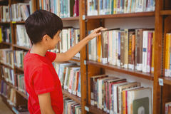 Side view of boy selecting book in library Royalty Free Stock Photography