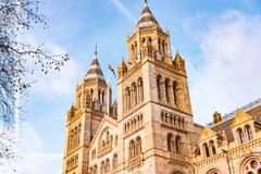 Side view of British Natural History Museum in London stock photography