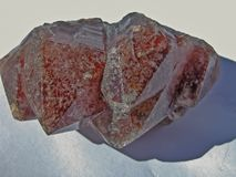 Side View of Brownish Red, Amethyst Crystals, the Colour Change is Caused by Inclusions. Side View of Brownish Red, Amethyst Crystals. The Colour Change is stock images