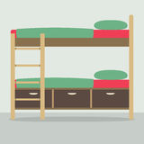 Side View Of Bunk Bed On Floor Royalty Free Stock Photography