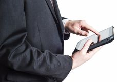 Business Man in Suit Holding Tablet PC on White Background Royalty Free Stock Photo