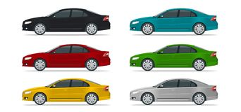 Side view of business sedan vehicle template vector isolated on white Change the colour in one click. All elements in Stock Images