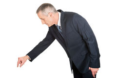 Side view businessman showing small size Royalty Free Stock Photo