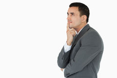 Side view of businessman in thoughts Stock Photography