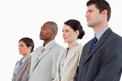 Side view of businessteam standing together Royalty Free Stock Photo
