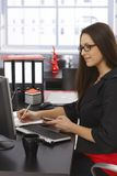 Side view of businesswoman at desk Stock Image