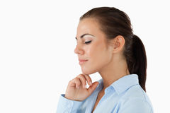 Side view of businesswoman with eyes closed Stock Image