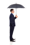 Side view businesswoman umbrella Stock Images
