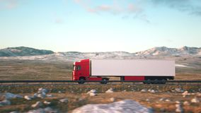 Semi-trailer truck driving along a desert road. Side-view camera follows a semi truck driving on a highway into the sunset. Realistic high quality 3d animation.n stock video footage