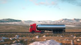 Semi-trailer tank truck driving along a desert road. Side-view camera follows a tank truck driving on a highway into the sunset. Realistic high quality 3d stock footage