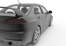Side view of a car used for drifting. 3D rendered illustration of the side view of a black car. The car is getting ready to compete in a drifting race. The whole Royalty Free Stock Photo