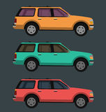 Side view of car, vector illustration with three colors variations Stock Image