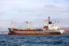 Side view of the cargo ship Royalty Free Stock Photo