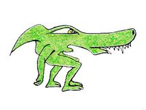 Alien Monster Reptile Drawing. Side view cartoon illustration style weird green alien monster drawing isolated on white background Royalty Free Stock Images
