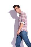 Serious man walking & looking at you Stock Photography