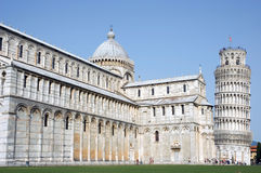 Side view cathedral leaning tower Pisa Stock Photo