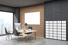 Side view of CEO office with filing cabinet in big city. Side view of office with filing cabinet and horizontal poster. CEO desk is standing near panoramic Royalty Free Stock Images