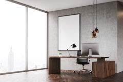 Side view of CEO office with panoramic window and poster Stock Photography