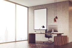 Side view of CEO office with panoramic window and poster, toned Stock Images