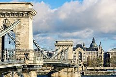 Side view of chain bridge. Budapest. Stock Photography