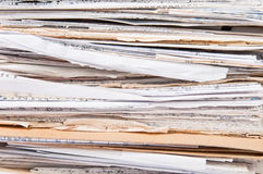 Side View Of  Chaotic Old File Stack Stock Photos