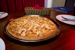 Chicken and mushroom pizza stock images