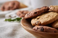 Side view of chocolate chip cookies on a wooden plate over rustic background, selective focus. Side view of chocolate chip cookies on a wooden plate over rustic Royalty Free Stock Images