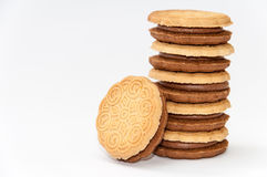 Side view chocolate sandwich biscuits over white Royalty Free Stock Images
